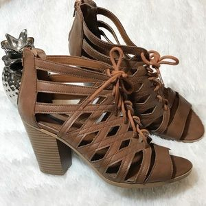 Brown vegan leather lace up bootie heels Size 10